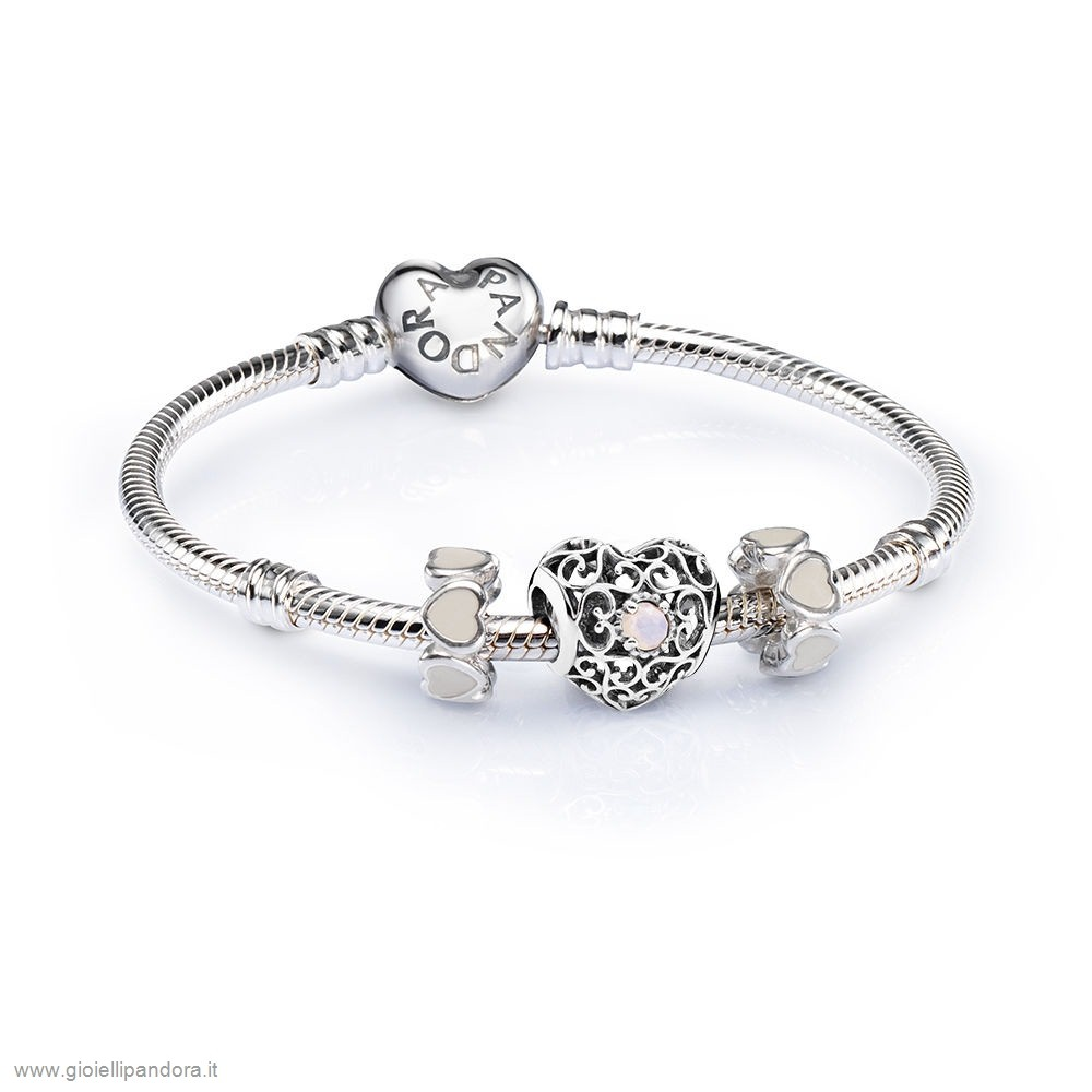 PANDORA Sale October Signature Heart Birthstone Charm Bracelet Set in Vendita Online