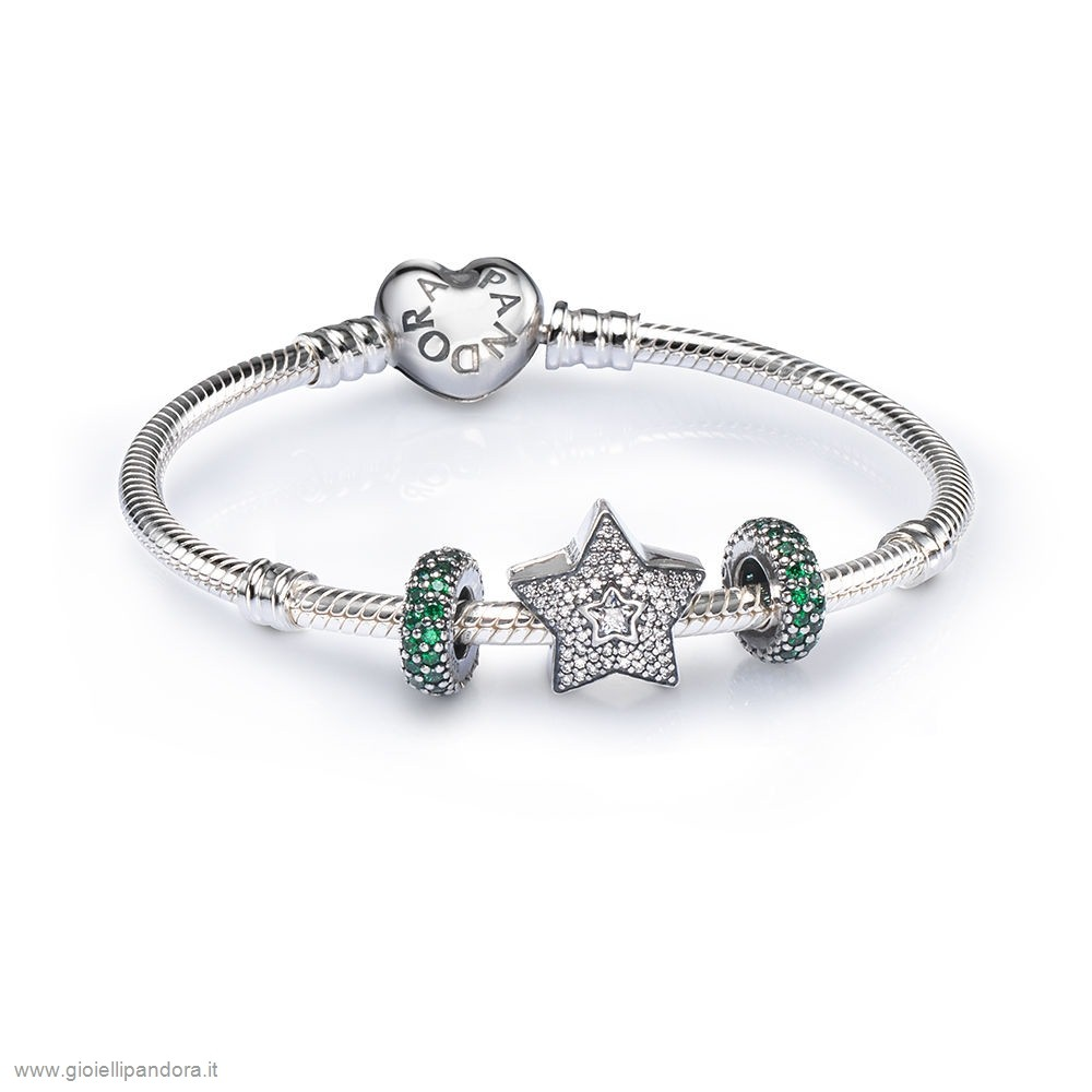 PANDORA Sale Pave Wishing Star Charm Bracelet Set in Vendita Online