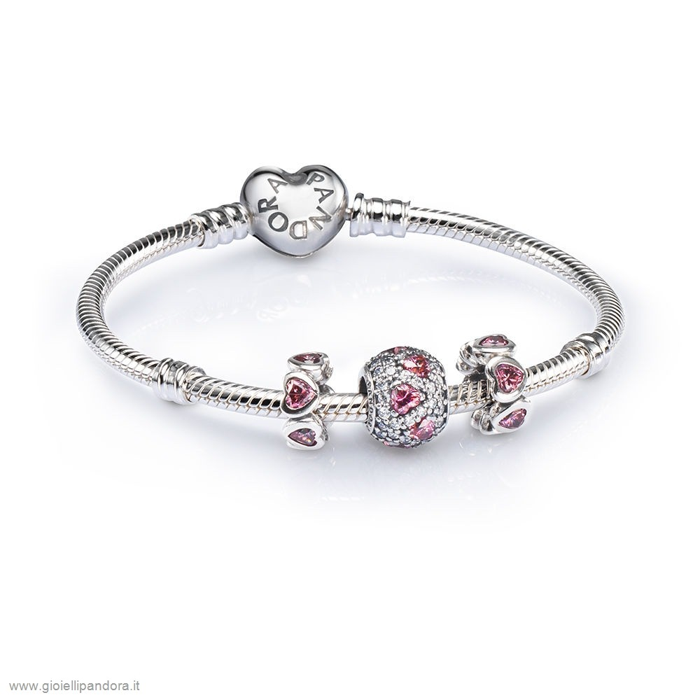 PANDORA Sale Pink Heart Pave Ball Charm Bracelet Set in Vendita Online
